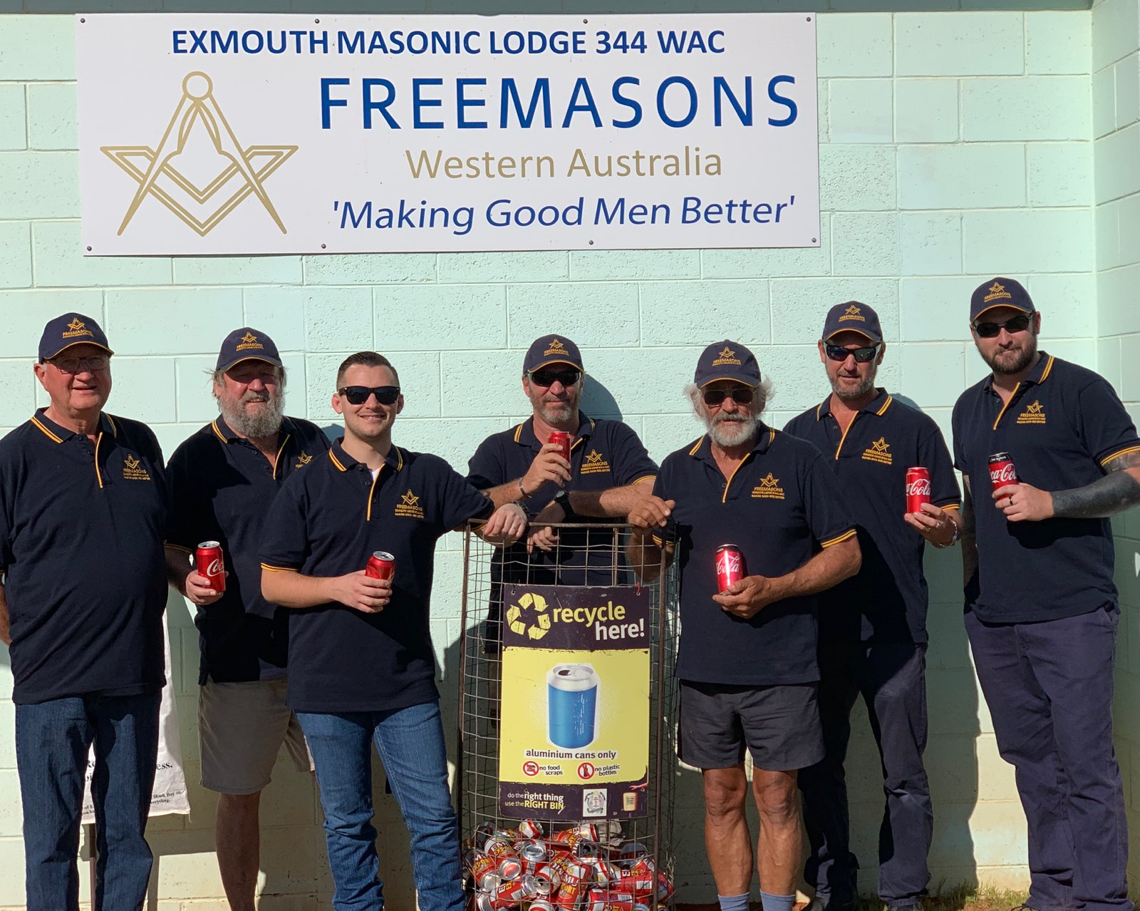 Exmouth Freemasons take on the can recycling challenge